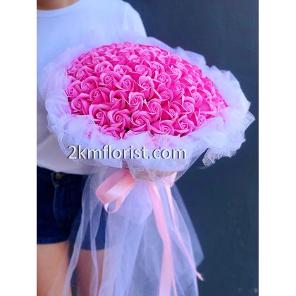 Valentine's Day Flower 99 Rose Bouquet (Soap Flower)